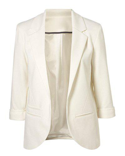 Simple Style Lapel Neck 3/4 Sleeve Solid Color Slimming Women's Blazer - WHITE 40