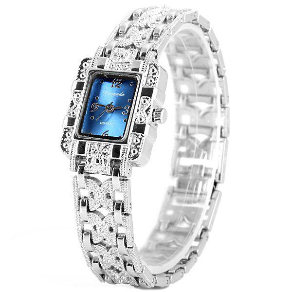 Chaoyada Beautiful Quartz Chain Watch with Rectangle Dial Steel Watch Band for Women - BLUE