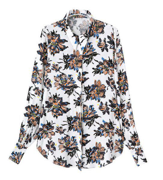 Stylish Floral Print Turn-Down Collar Cotton Blend Long Sleeve Blouse For Women - WHITE M