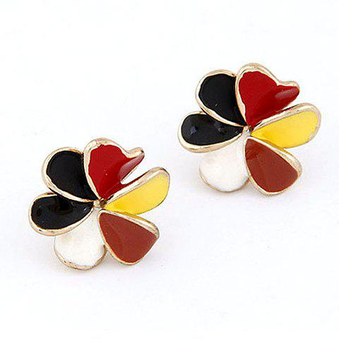 Pair of Flower Shape Stud Earrings - COLORMIX