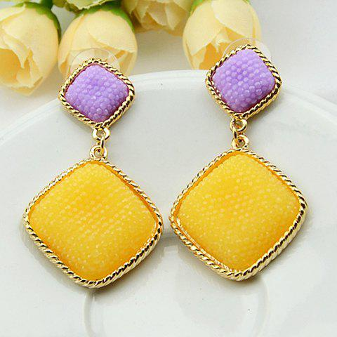 Pair of Cute Candy Color Square Shape Women's Earrings - YELLOW