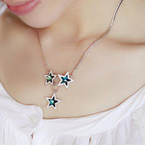 Chic Sweet Women's Rhinestone Star Pendant Necklace - AS THE PICTURE