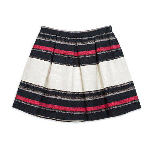 Colorful Striped High Waisted A-Line Trendy Style Women's Skirt - COLORMIX S