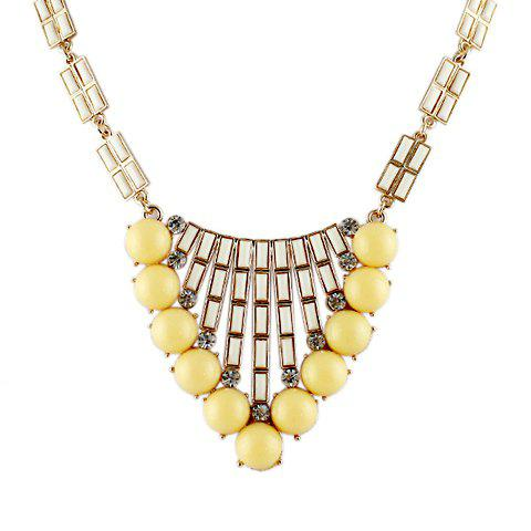Cute Bohemian Style Candy Color Beads Embellished Women's Necklace - YELLOW
