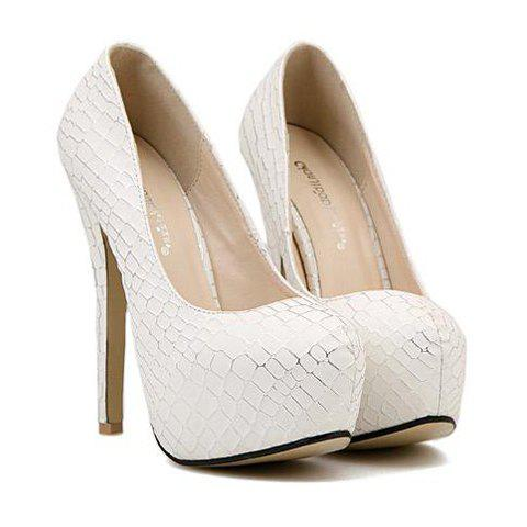 Trendy Stone Pattern and Stiletto Heel Design Pumps For Women - WHITE 39