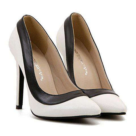Trendy Pointed Toe and Color Block Design Pumps For Women