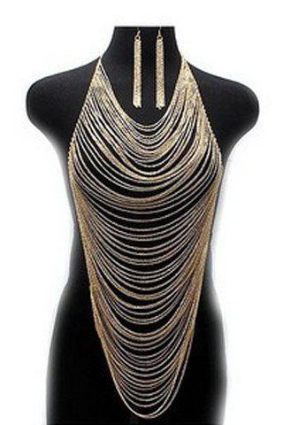 Delicate Special Design Multi-Layered Tassels Body Chain and A Pair of Earrings For Women - GOLDEN