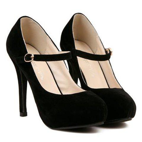 Concise Suede and Solid Color Design Pumps For Women - BLACK 38