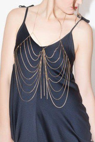 Stylish Solid Color Symmetry Multi-Layered Arc-Shaped Body Chain For Women - COLOR ASSORTED
