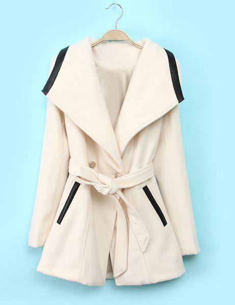 Sweet Waistband Beam Waist Turn-Down Collar Long Sleeve Coat For Women