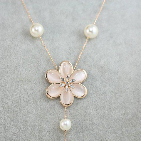 Stylish Delicate Women's Rhinestone Pearl Opal Flower Pendant Sweater Chain Necklace -  ROSE GOLD
