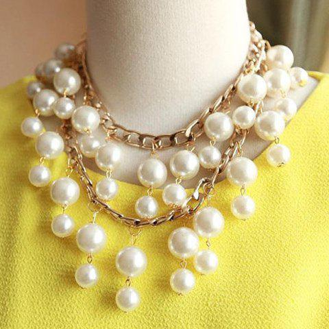 Faux Pearl Tassel Layered Necklace - GOLDEN