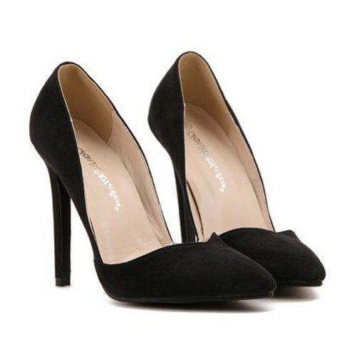 Fashionable Suede and Pointed Toe Design Pumps For Women - BLACK 35