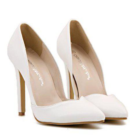Fashionable PU Leather and Pointed Toe Design Pumps For WomenShoes<br><br><br>Size: 39<br>Color: WHITE