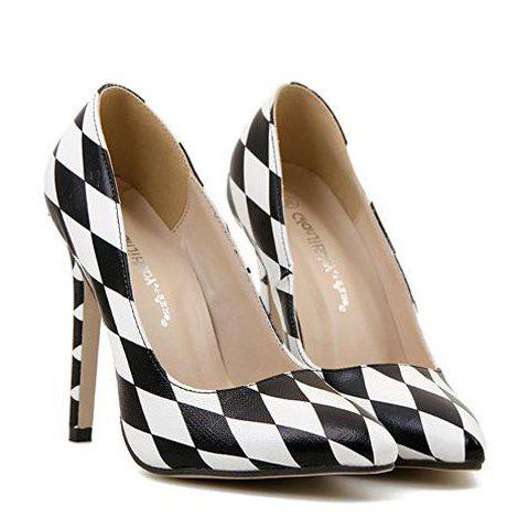 Trendy Checked and Color Block Design Pumps For Women - BLACK 39