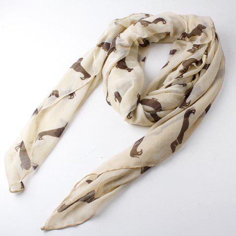 Cute Doggy Print Women's Voile Scarf