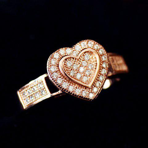 Chic Rhinestone Embellished Heart Shape Ring For Women - ONE-SIZE COLOR ASSORTED