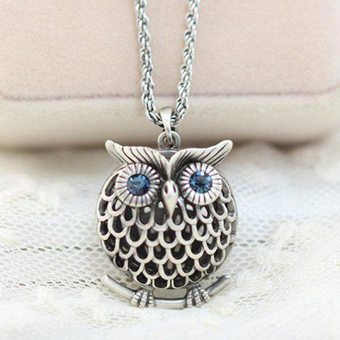 Stylish Women's Rhinestone Owl Sweater Chain Necklace
