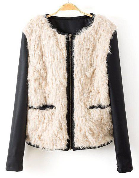 Faux Fur Splicing Fashionable Round Neck Long Sleeve Women's Jacket - YELLOWISH PINK S