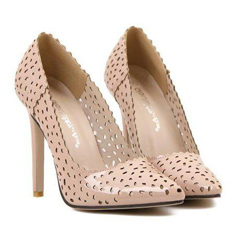 Stylish Pointed Toe and Openwork Design Pumps For Women - NUDE 40