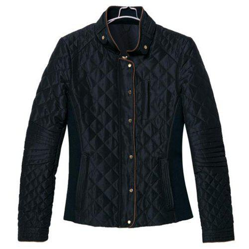 Solid Color Checked Stand Collar Long Sleeve Fashionable Women's Jacket - BLACK L