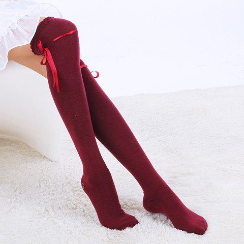 Pair of Seductive Solid Color Cotton Stockings - COLOR ASSORTED
