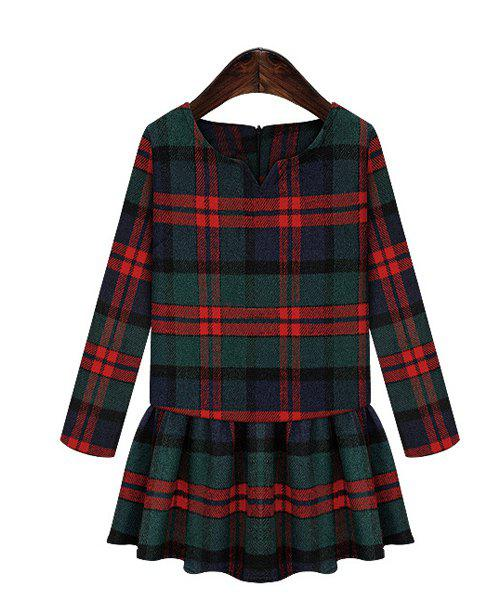 Trendy Style V-Neck Checked Print Long Sleeve Women's Dress - RED XL