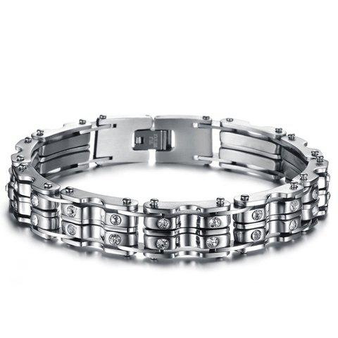Fashion Chic Rhinestone Inlaid Silver Link Bracelet For Men - AS THE PICTURE