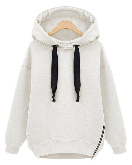Casual Style Solid Color Loose-Fitting Long Sleeve Women's Hoodie - WHITE S