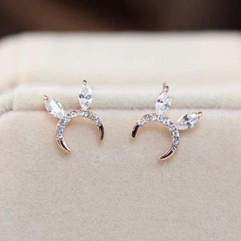 Pair of Cute Rhinestone Embellished Rabbit Ear Shape Women's Earrings - GOLDEN