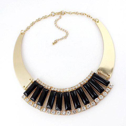 Cute Sweet Women's Rhinestone Colored Necklace - BLACK