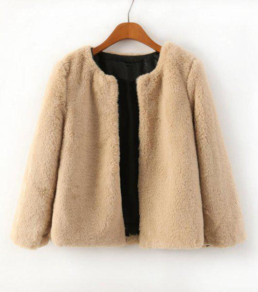 Solid Color Round Collar Long Sleeve Fashionable Women's Faux Fur Coat
