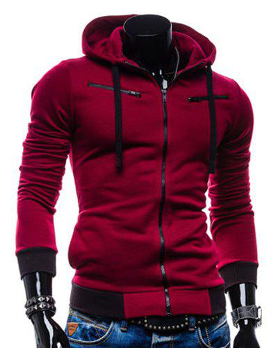 Casual Style Slimming Hooded Zipper Embellished Color Splicing Long Sleeves Men's Thicken Cotton Blend Sport Coat - WINE RED 2XL