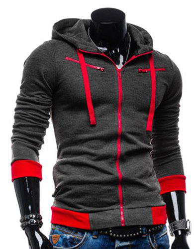 Casual Style Slimming Hooded Zipper Embellished Color Splicing Long Sleeves Men's Thicken Cotton Blend Sport Coat от Dresslily.com INT