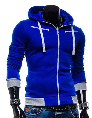 Casual Style Slimming Hooded Zipper Embellished Color Splicing Long Sleeves Men's Thicken Cotton Blend Sport Coat - SAPPHIRE BLUE 2XL