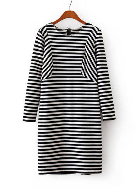 Striped Splicing Round Collar Long Sleeve Slimming Fashionable Women's Dress