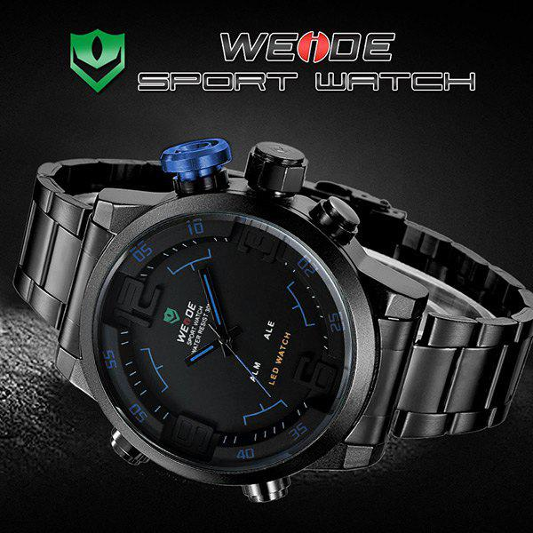 WEIDE WH2309B Military Sports Quartz Watch Double Movts Analog Digital LED Dual Time Display Alarm Wristwatch for Men - BLUE