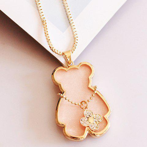 Stylish Diamante Clover and Cute Bear Pendant Sweater Chain Neckalce For Women - SHALLOW PINK