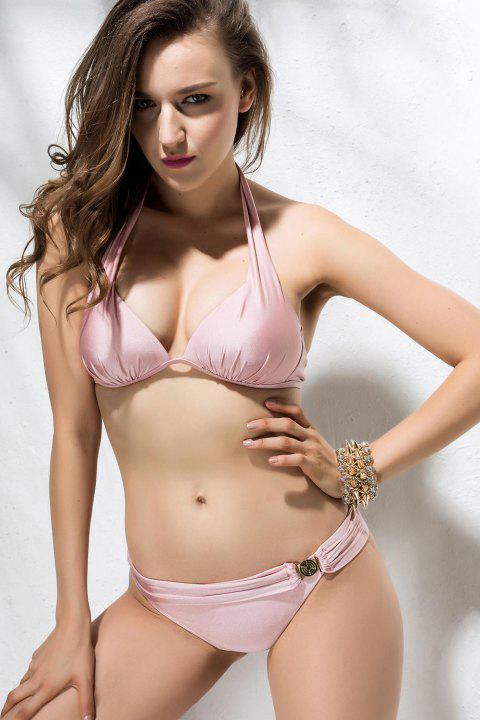 Women's Charming Metal Embellished Pleated Pink Swimsuit - PINK L