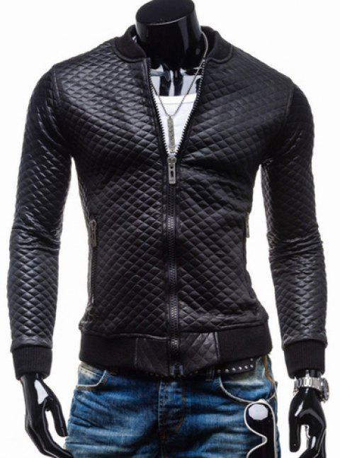 Trendy Slimming Plaid Long Sleeves Stand Collar Solid Color Thicken Zipper Design Men's Leather Jacket - BLACK XL