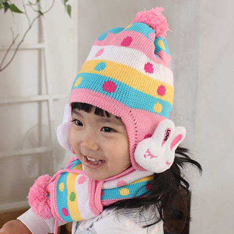 A Suit of Sweet Cute Rabbit Dot Pattern Decorated Woolen Ball Hat And Scarf For Children - COLOR ASSORTED