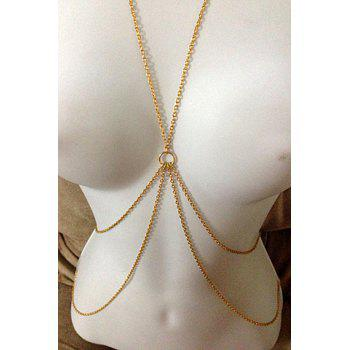 Sexy Layered Decussation Design Body Chain For Women - GOLDEN