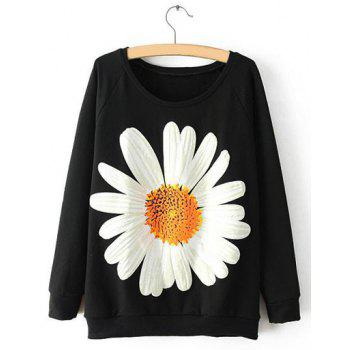 Simple Sunflower Print Scoop Neck Loose-Fitting Long Sleeve Sweatshirt For Women
