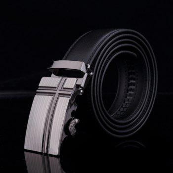 Cross Design Alloy Buckle Faux Leather Belt For Men