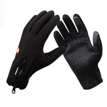 Pair of Simple Zipper Design The Touch-Screen Cycling Gloves