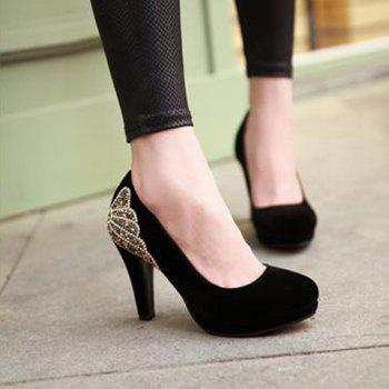 Stylish Chunky Heel and Rhinestones Design Pumps For Women - 39 39