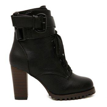 Fashion Lace-Up and Buckle Design Women's Boots - BLACK 37
