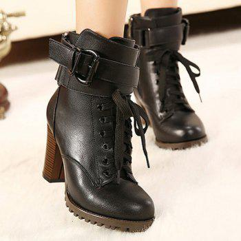 Fashion Lace-Up and Buckle Design Boots For Women - BLACK 37