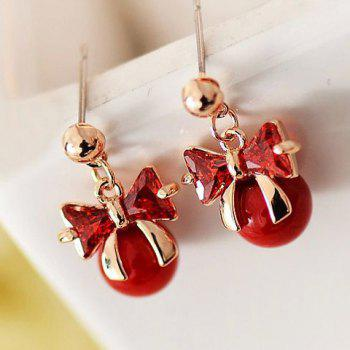 Pair of Cute Sweet Women's Rhinestone Ball Bowknot Earrings