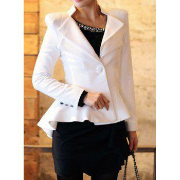 Buy Elegant Flouncing Design Solid Color Stand-Up Collar Long Sleeve One-Button Blazer WHITE